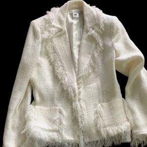 Cabi Isabella Fringe Tweed Classic Blazer Ivory